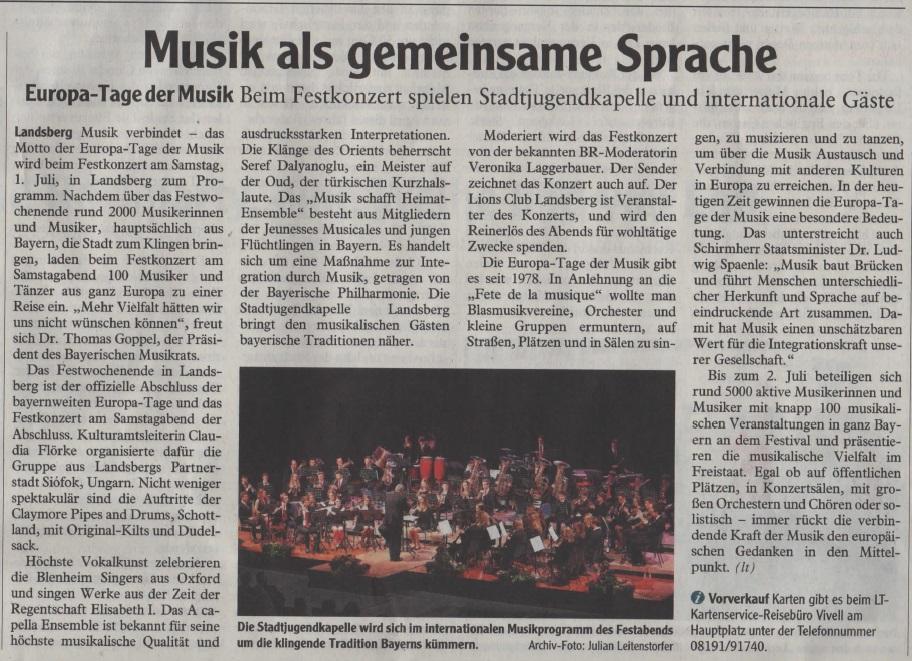 Europo-Tage der Musik in Landsberg