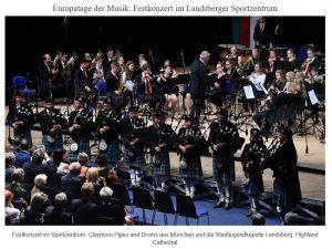 Festkonzert im Sportzentrum: Claymore Pipes and Drums aus München und die Stadtjugendkapelle Landsberg, Highland Cathedral